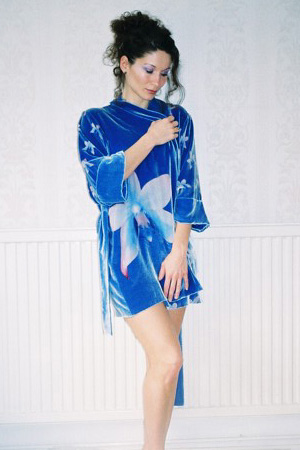 silk velvet royal blue robe